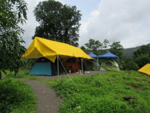 Monsoon Camping with Big Red Tent 16