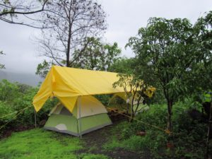 Monsoon Camping with Big Red Tent 8